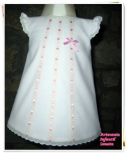 White Pique dress with pink bow