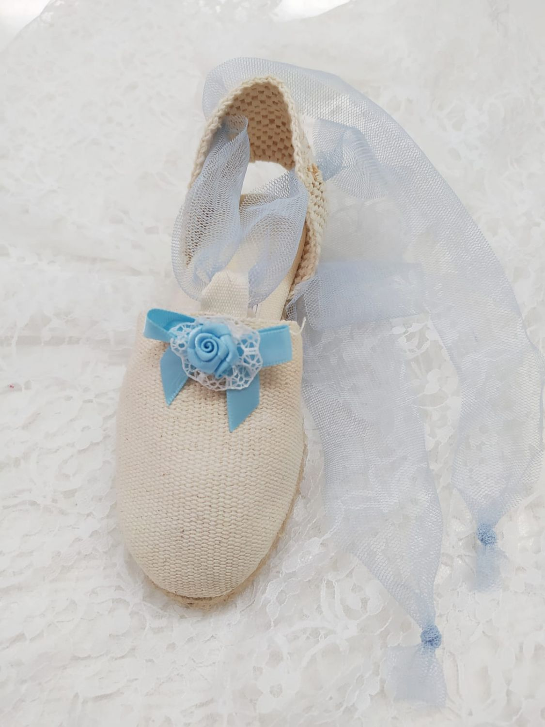 Summer Shoe Tulle and flower baby blue